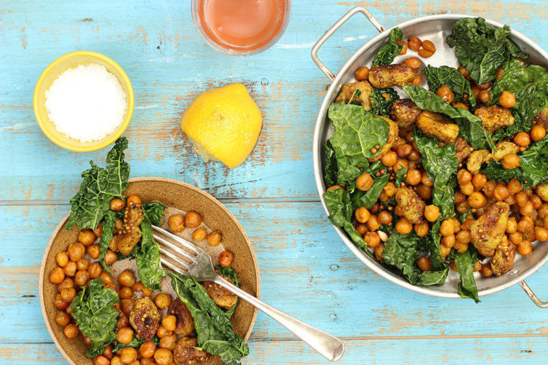 Oven-Roasted Chickpeas with Caramelised Banana and Cavolo Nero