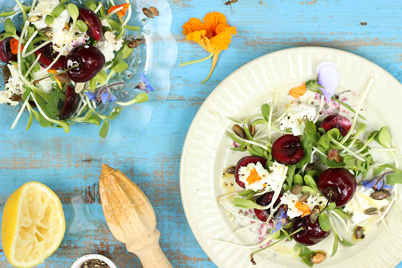 Soft Goat's Cheese Salad with Cherries & Toasted Tamari Seeds