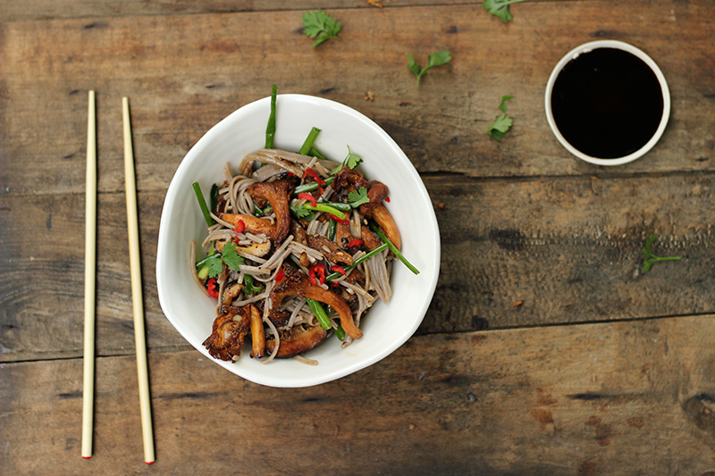 Buckwheat Noodles Wrapped in 'shrooms & Badass Ginger