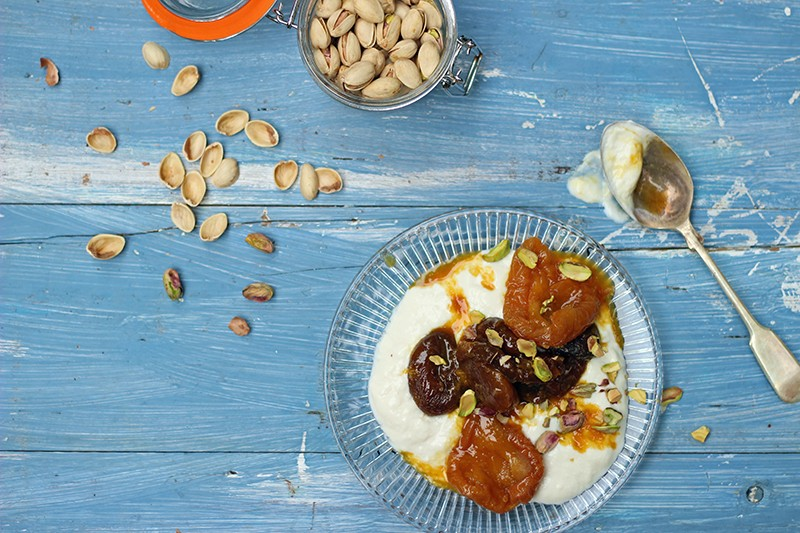 Christmas Morning – saffron apricots with pistachio yoghurt and mandarin sauce